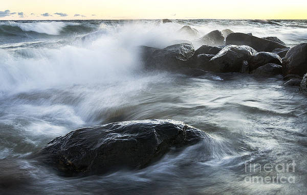 Photograph - Wave Crashes Rocks 7833 by Steve Somerville