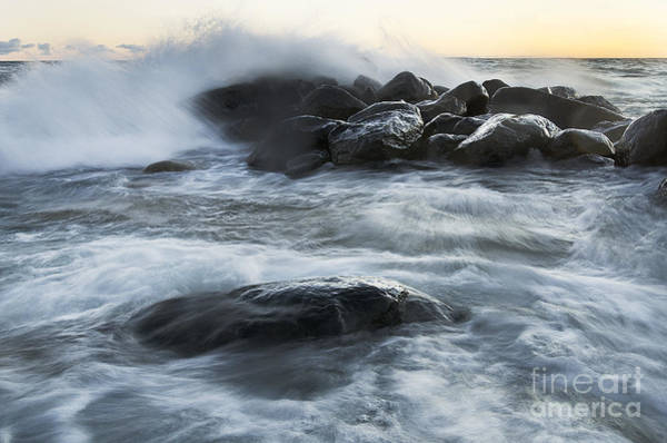 Photograph - Wave Crashes Rocks 7835 by Steve Somerville
