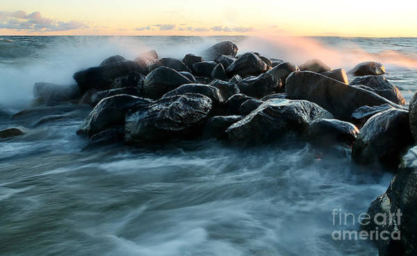 Photograph - Wave Crashes Rocks 7941 by Steve Somerville