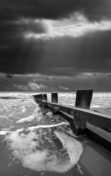Mono Photograph - Wave Defenses by Meirion Matthias