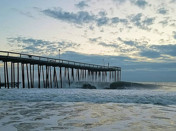 Photograph - Wave Rolling Under The Pier by Robert Banach