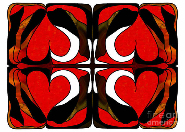 Digital Art - Wavering Hearts Abstract Bliss Art By Omashte by Omaste Witkowski