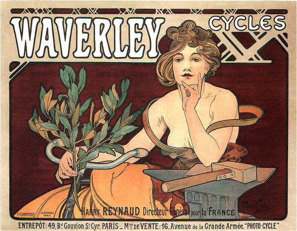Wall Art - Mixed Media - Waverley Cycles - Bicycle - Vintage French Advertising Poster by Studio Grafiikka