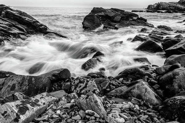 Photograph - Waves Against A Rocky Shore In Bw by Doug Camara