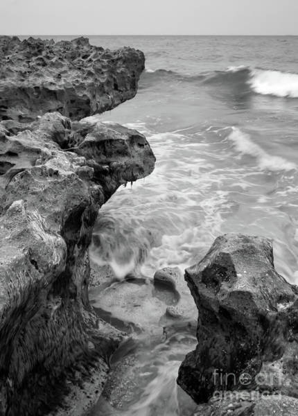Photograph - Waves And Coquina Rocks, Jupiter, Florida #39358-bw by John Bald