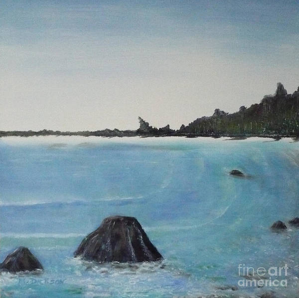 Painting - Waves And Pines by Monika Shepherdson