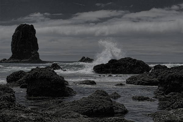 Photograph - Waves At Haystack Rock Bw by Dale Kauzlaric