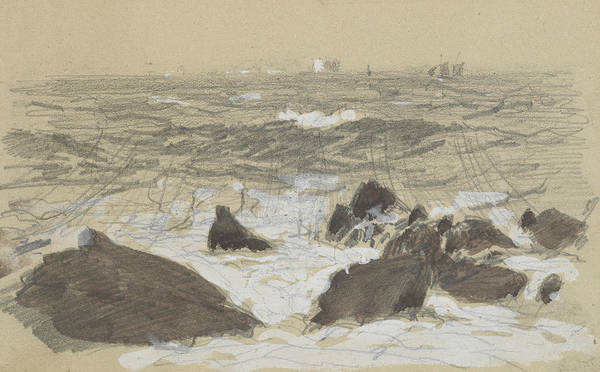 Drawing - Waves Breaking On Rocks by John Singer Sargent
