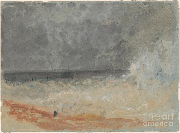 J. M. W. Turner Painting - Waves Breaking On The Beach by MotionAge Designs