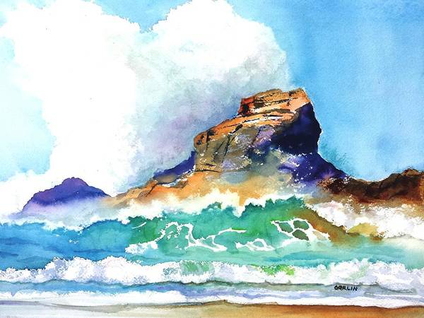 Painting - Waves Bursting On Rocks by Carlin Blahnik CarlinArtWatercolor