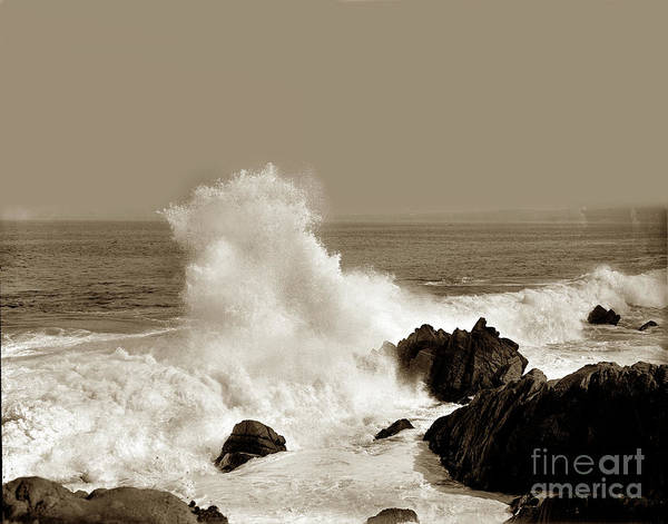 Photograph - Waves Hitting Rocks At The Foot Of 11th Street,near Lovers Point 1918 by California Views Archives Mr Pat Hathaway Archives