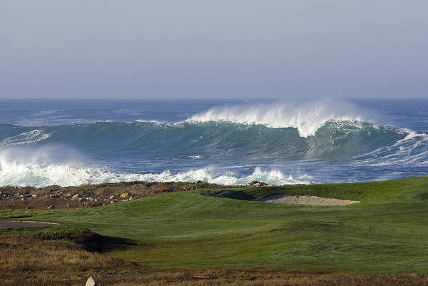 Pebble Beach Golf Course Photograph - Waves Off Point Joe And Golf Course by Rich Reid
