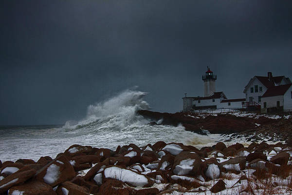Photograph - Waves Reaching For Eastern Point Lighthouse by Jeff Folger