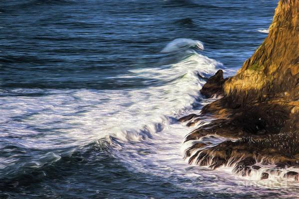 Photograph - Waves Rocks And Birds by Jon Burch Photography