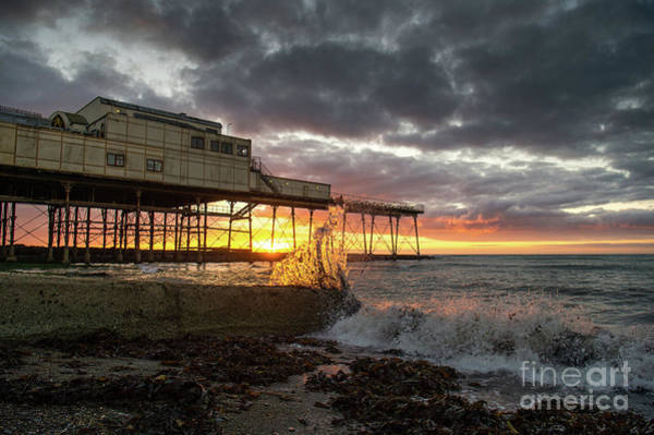 Photograph - Waves Spalshing At Sunset by Keith Morris