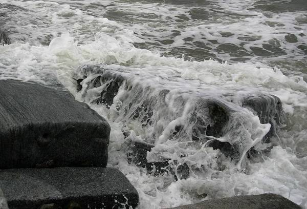 Waves Splashing Stones 2 Art Print