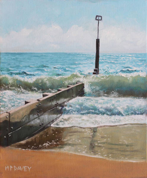 Wall Art - Painting - Waves With Beach Groin by Martin Davey