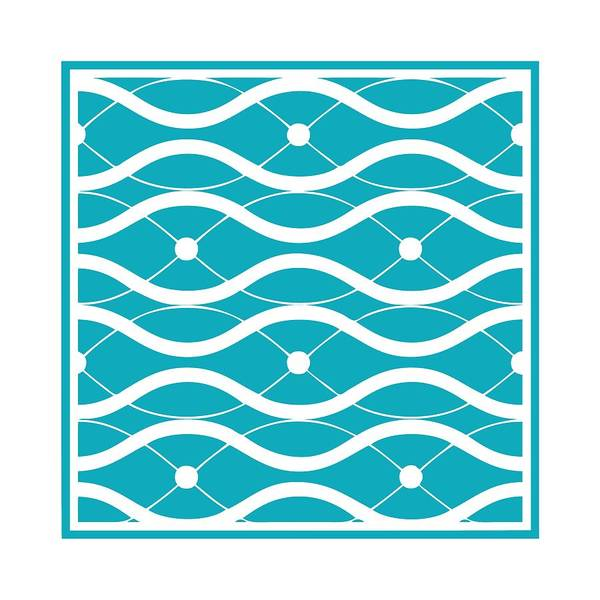 Robin's Egg Blue Digital Art - Waves With Border In Robin's Egg Blue by Custom Home Fashions