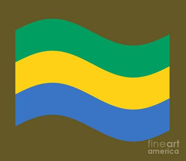 Gabon Digital Art - Waving Gabon Flag by Frederick Holiday