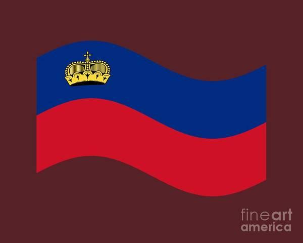 Liechtenstein Digital Art - Waving Liechtenstein Flag by Frederick Holiday