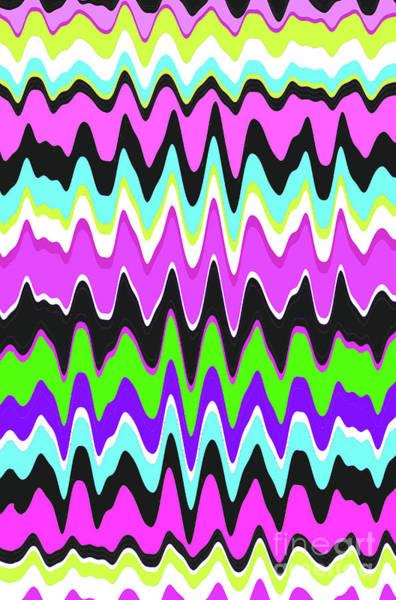 Neon Blue Digital Art - Wavy Stripe by Louisa Knight
