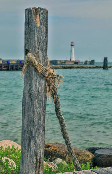 St Ignace Wall Art - Photograph - Wawatam Lighthouse On The Pier by Dan Sproul