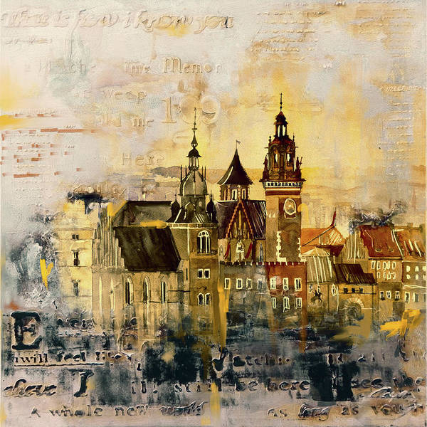 Poland Painting - Wawel Castle Poland 194 1 by Mawra Tahreem