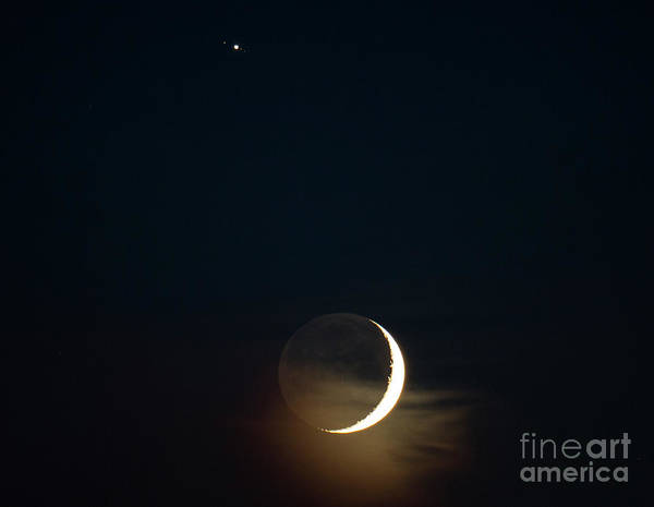 Photograph - Waxing Crescent Moon With Jupiter And Moons by Ricky L Jones