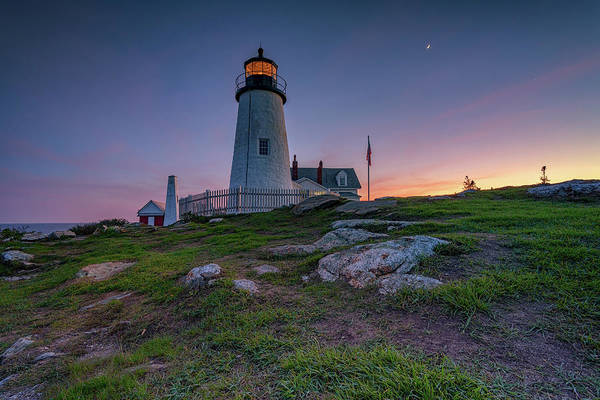 Photograph - Waxing Crescent Over Pemaquid Point by Rick Berk