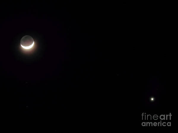 Photograph - Waxing Moon With Venus by D Hackett