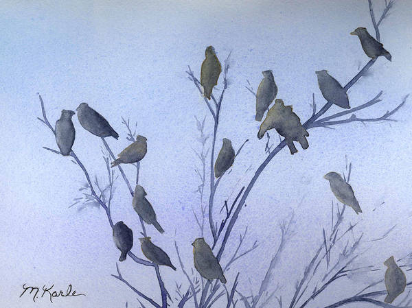 Painting - Cottonwood Caucus-waxwings by Marsha Karle