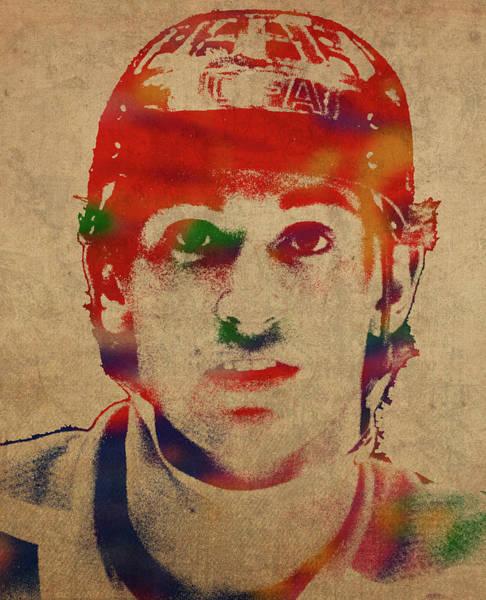 Wall Art - Mixed Media - Wayne Gretzky Watercolor Portrait by Design Turnpike