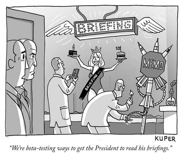 National Security Drawing - Ways To Get The President To Read His Briefings by Peter Kuper