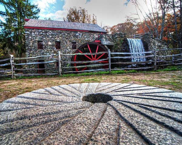 Photograph - Wayside Inn Grist Mill Millstone by Toby McGuire
