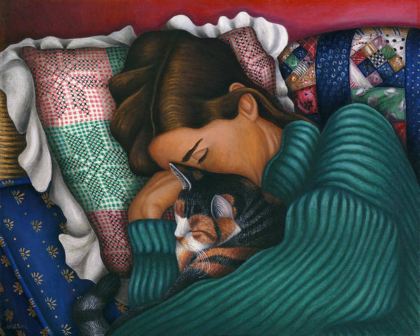 Wall Art - Painting - We 2 Nap With My Cat by Carol Wilson
