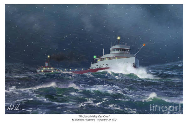 Freighter Wall Art - Painting - We Are Holding Our Own by Mark Karvon