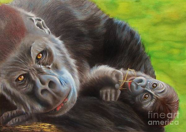 Baby Gorilla Painting - We Are Watching You by Nanda Hoep