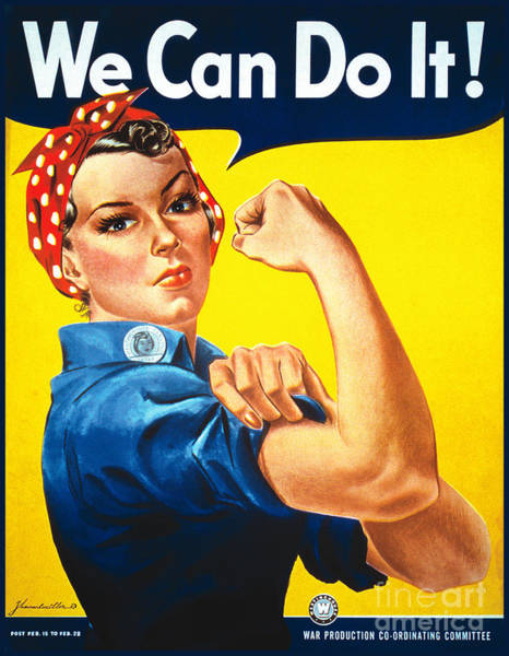Wall Art - Drawing - We Can Do It Rosie The Riveter Poster by Vintage Treasure