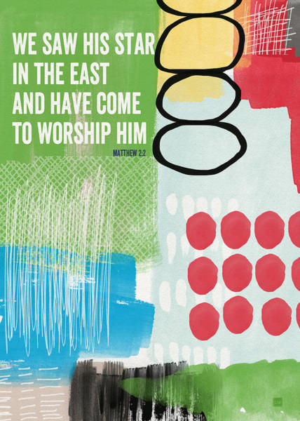 Worship Wall Art - Painting - We Come To Worship- Contemporary Christmas Card By Linda Woods by Linda Woods