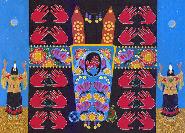 Native Drawing - We Hold The Future by Chholing Taha