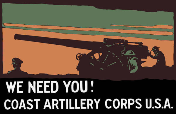 Wwi Wall Art - Painting - We Need You - Coast Artillery Corps Usa by War Is Hell Store
