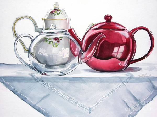 Painting - We Three Teapots by Jane Loveall
