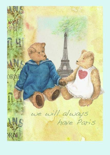 Painting - We Will Always Have Paris Whimsical Bears by Judith Cheng
