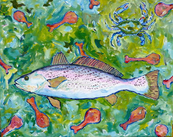 Food Chain Painting - Weak Fish Food Chain by Popo  Flanigan