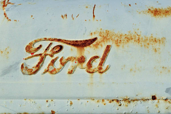 Wall Art - Photograph - Weathered And Worn Ford Tractor Hood by Luke Moore