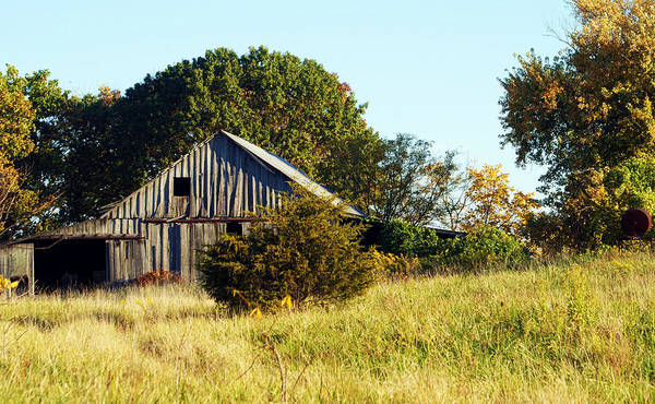 Photograph - Weathered Barn In Fall by Cricket Hackmann