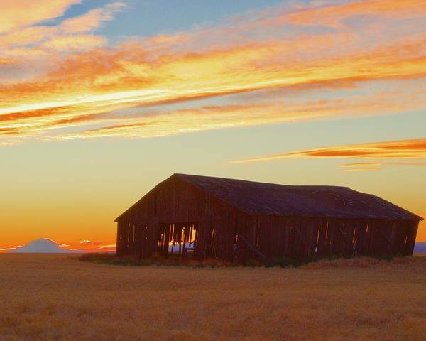 Photograph - Weathered Barn Sunset by Todd Kreuter