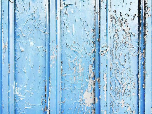 Wall Art - Photograph - Weathered Blue Wood by Tom Gowanlock