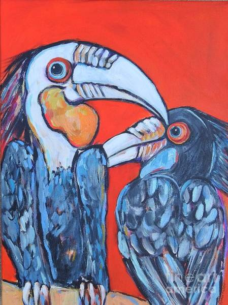 Wall Art - Painting - Weathered Hornbills by Arrin Burgand
