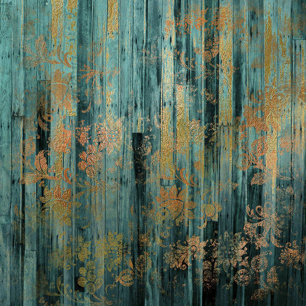 Teal Mixed Media - Weathered I - Vertical by Lucy Chiffon